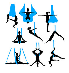 Aero yoga silhouettes black and white icons vector