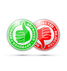 approved and rejected thumbs up and down icon vector image