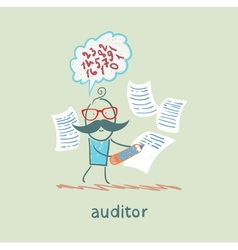 Auditor writes on a piece paper and think about vector