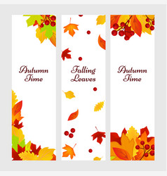 autumn banners gold red leaves background vector image