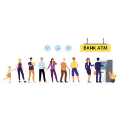 bank atm queue different people waiting to cash vector image