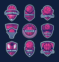 Basketball league isolated label set vector