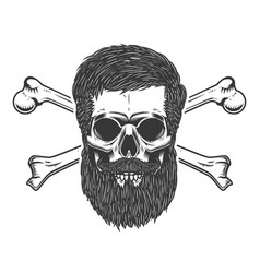 Bearded skull with crossbones design element for vector