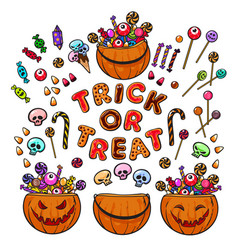 Big set of cartoon halloween pumpkins candies and vector