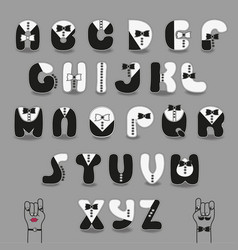 black and white alphabet with ties tuxedo style vector image