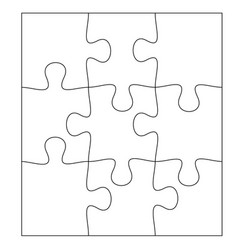blank jigsaw puzzle 9 pieces simple line art vector image