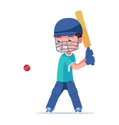 boy cricket player in sports uniform hits ball vector image