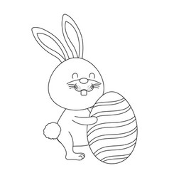 bunny with easter egg vector image