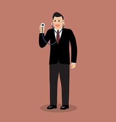 Businessman holding stethoscope vector image
