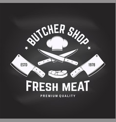 butcher meat shop badge or label with steak chef vector image