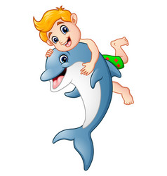 cartoon boy playing with dolphin vector image