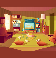 Cartoon retro room with video games vector
