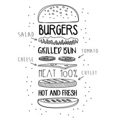 Chalk drawn components classic cheeseburger vector