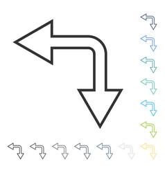 Choice arrow left down icon vector
