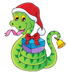 christmas snake theme image 1 vector image