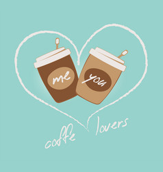 coffee lovers two cups and heart vector image