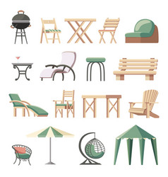 Collection outdoor furniture flat vector