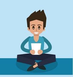 Color background of man sitting with tablet device vector