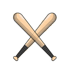Color baseball bats to play icon vector