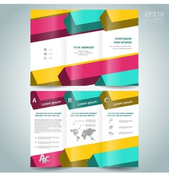 Colored 3d line squares brochure design template vector