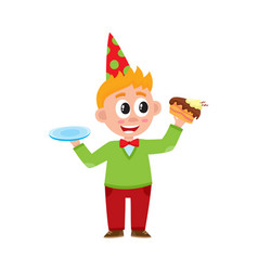 comic portrait of funny boy eating birthday cake vector image