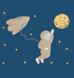 cosmonaut in open space vector image