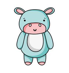 Cute and happy hippopotamus wild animal vector