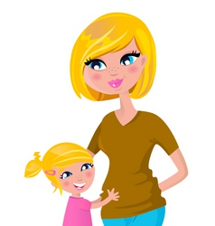 Cute blond mother and daughter vector