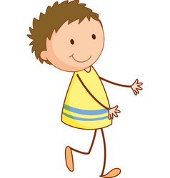 Cute girl cartoon character in doodle style vector
