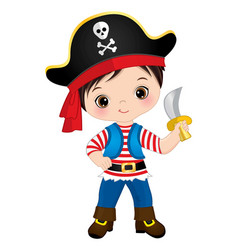 Cute little pirate holding knife vector