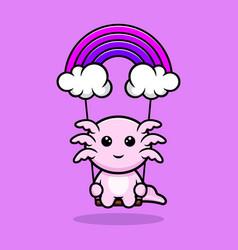 Cute oxolotl swinging on sky cartoon character vector