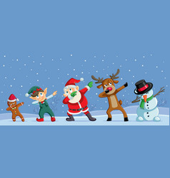 Dabbing christmas cartoon characters funny banner vector