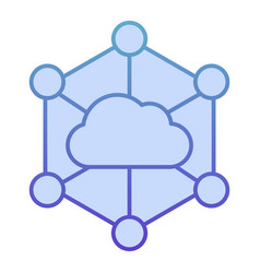 Data cloud flat icon computer storage blue icons vector