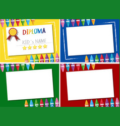 Diploma and four different background templates vector