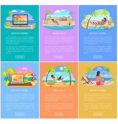 Distant work and freelance vertical posters set vector