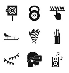 entertainment of the future icons set simple vector image