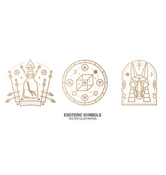 Esoteric symbols thin line geometric badge vector
