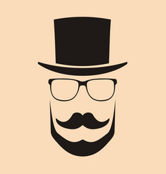Fashion silhouette hipster style hat glasses vector