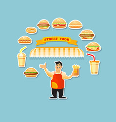 fast food card with young cook seller an vector image