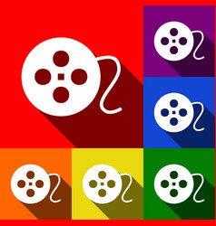 film circular sign set of icons with flat vector image