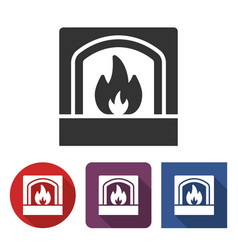 Fireplace icon in different variants vector