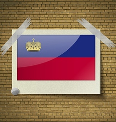 Flags Liechtenstein at frame on a brick background vector image