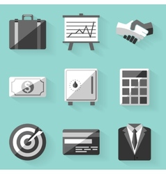 Flat icon set Business White style vector image
