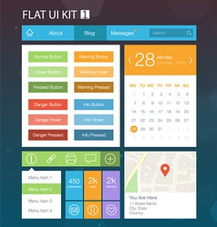 Flat User Interface Kit for web and mobile 1 vector image