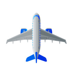 flying aircraft white and blue airplane view vector image