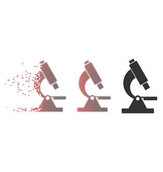 Fragmented pixel halftone microscope icon vector
