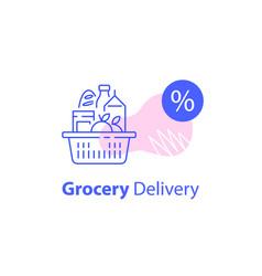 Full shopping basket grocery store vector