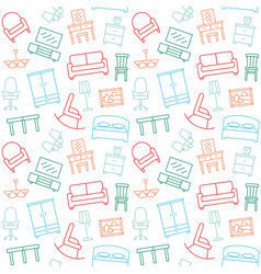 furniture seamless color pattern background vector image