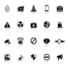 General useful icons with reflect on white vector