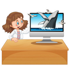 Girl next to computer with humpback whale vector
